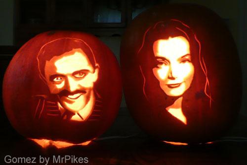 Gomez & Morticia Addams pumpkins
