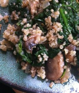 Quinoa with greens and mushrooms